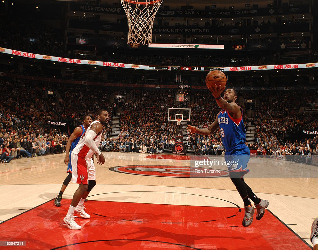 Tony Wroten of the Philadelphia 76ers goes up for a shot against the Toronto Raptors during the game on April 9 2014 at the Air Canada Centre in...