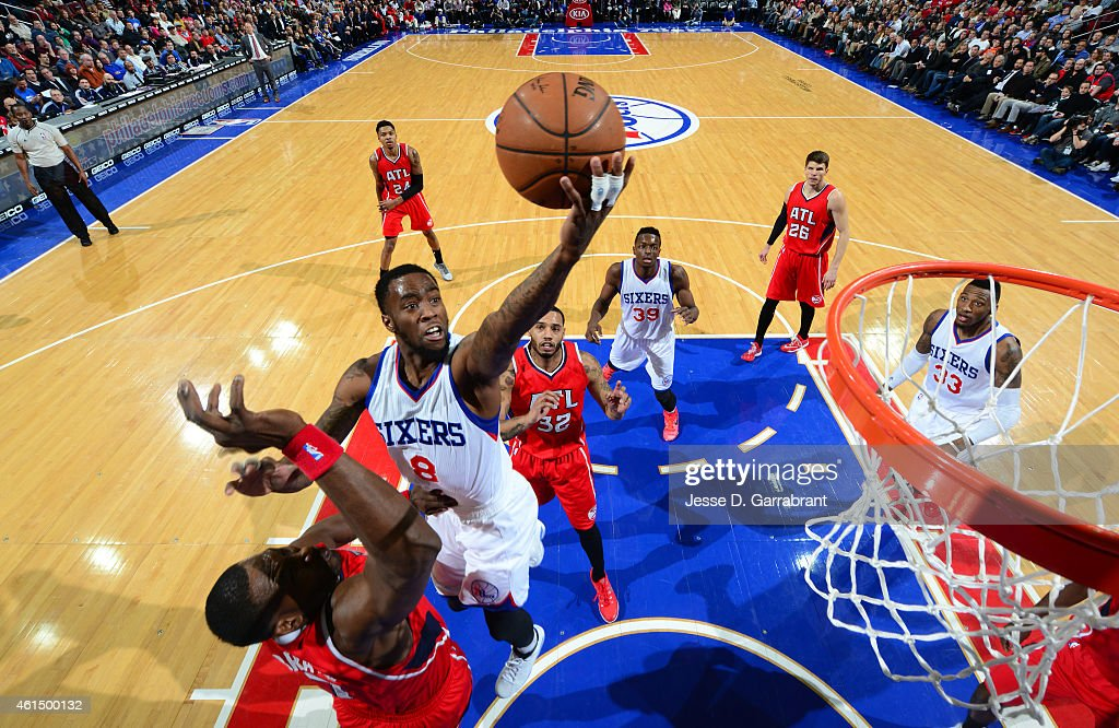 Tony Wroten of the Philadelphia 76ers goes up for the layup against the Atlanta Hawks at Wells Fargo Center on January 13 2015 in Philadelphia...