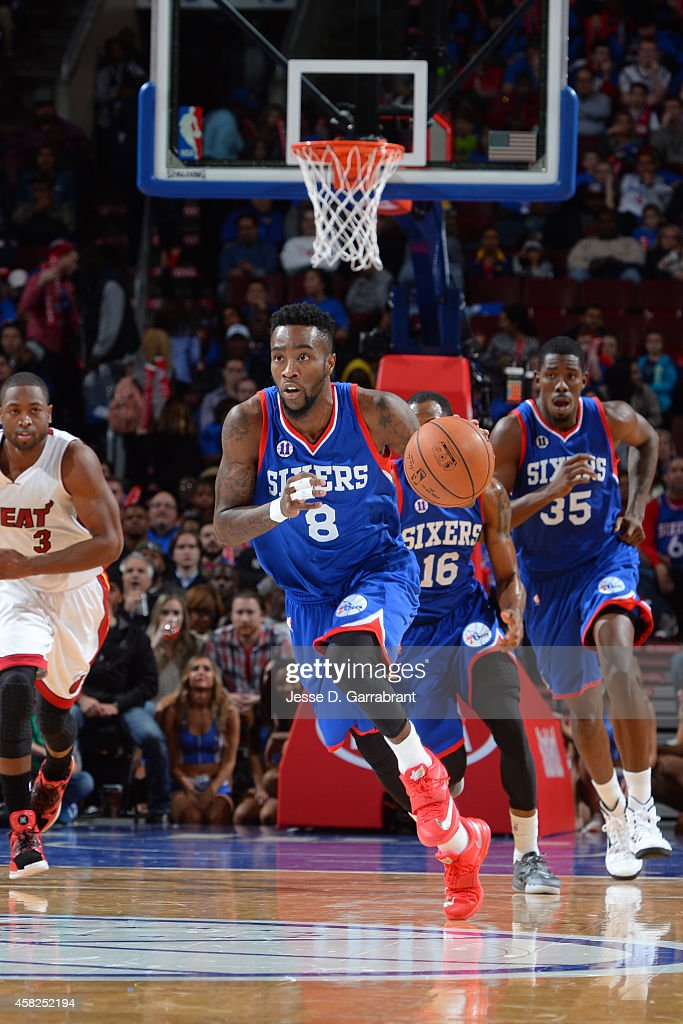 Tony Wroten of the Philadelphia 76ers handles the ball against the Miami Heat during the game on November 1 2014 at the Wells Fargo Center in...