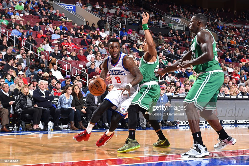 Tony Wroten of the Philadelphia 76ers handles the ball against the Boston Celtics on November 19 2014 at Wells Fargo Center in Philadelphia...