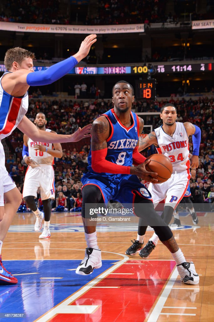 <a gi-track='captionPersonalityLinkClicked' href=/galleries/search?phrase=Tony+Wroten&family=editorial&specificpeople=7651920 ng-click='$event.stopPropagation()'>Tony Wroten</a> #8 of the Philadelphia 76ers handles the ball against the Detroit Pistons at the Wells Fargo Center on March 29, 2014 in Philadelphia, Pennsylvania.