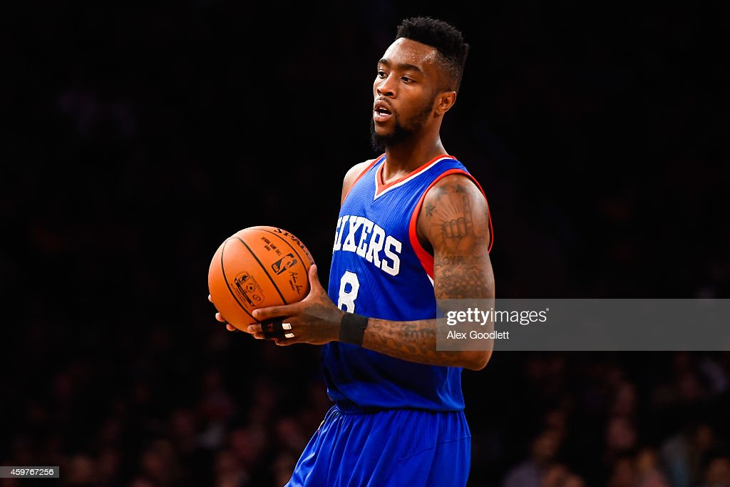 Tony Wroten of the Philadelphia 76ers looks on during a game against the New York Knicks at Madison Square Garden on November 22 2014 in New York...