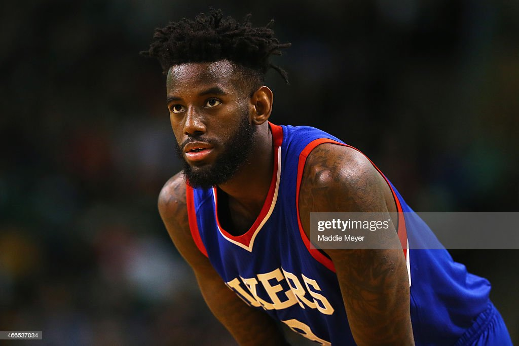 Tony Wroten of the Philadelphia 76ers looks on during the game against the Boston Celtics at TD Garden on February 6 2015 in Boston Massachusetts The...
