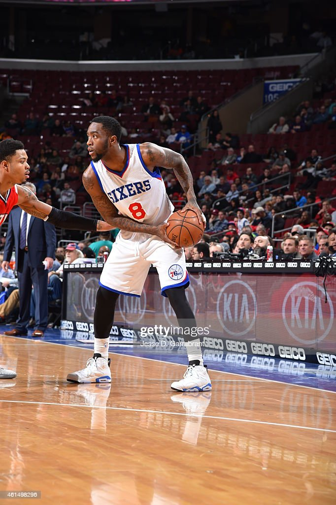 Tony Wroten of the Philadelphia 76ers looks to pass the ball against the Atlanta Hawks at Wells Fargo Center on January 13 2015 in Philadelphia...