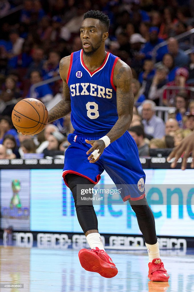 Tony Wroten of the Philadelphia 76ers plays in the game against the Miami Heat on November 1 2014 at the Wells Fargo Center in Philadelphia...