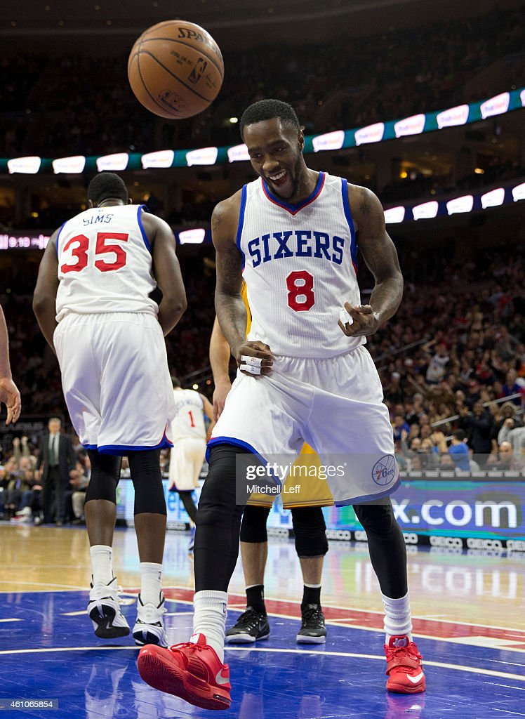 Tony Wroten of the Philadelphia 76ers reacts after making a basket against the Cleveland Cavaliers on January 5 2015 at the Wells Fargo Center in...