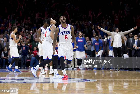 Tony Wroten of the Philadelphia 76ers reacts after the 76ers defeated the Cleveland Cavaliers 9592 on January 5 2015 at the Wells Fargo Center in...
