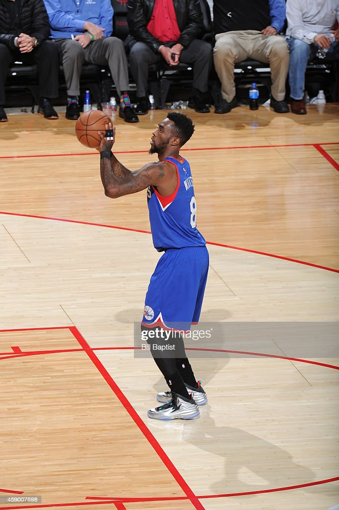 Tony Wroten of the Philadelphia 76ers shoots a free throw against the Houston Rockets during the game on November 14 2014 at the Toyota Center in...