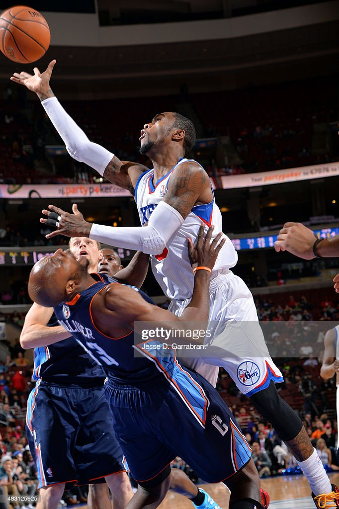 Tony Wroten of the Philadelphia 76ers shoots against the Charlotte Bobcats at the Wells Fargo Center on April 2 2014 in Philadelphia Pennsylvania...