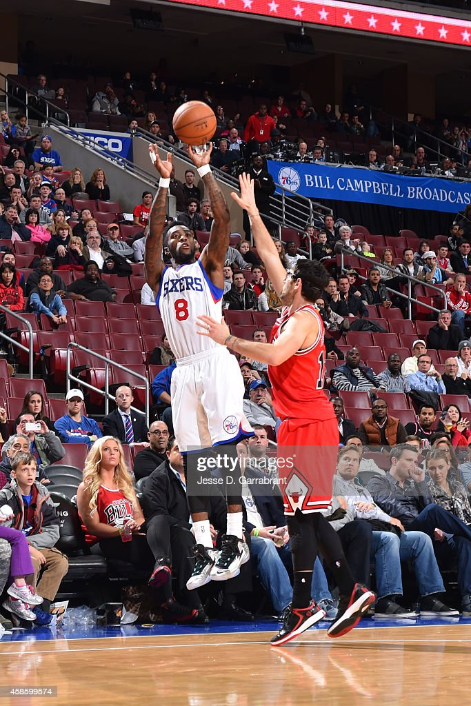 Tony Wroten of the Philadelphia 76ers shoots against the Chicago Bulls on November 7 2014 at the Wells Fargo Center in Philadelphia Pennsylvania NOTE...