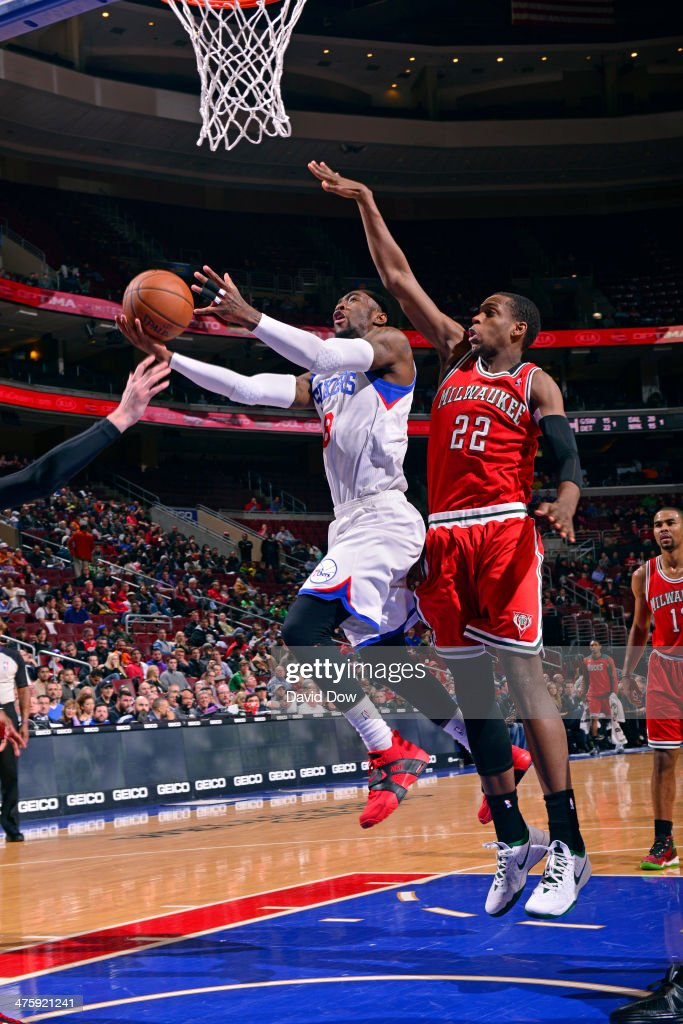 <a gi-track='captionPersonalityLinkClicked' href=/galleries/search?phrase=Tony+Wroten&family=editorial&specificpeople=7651920 ng-click='$event.stopPropagation()'>Tony Wroten</a> #8 of the Philadelphia 76ers shoots against the Milwaukee Bucks on February 24, 2014 at the Wells Fargo Center in Philadelphia, Pennsylvania.
