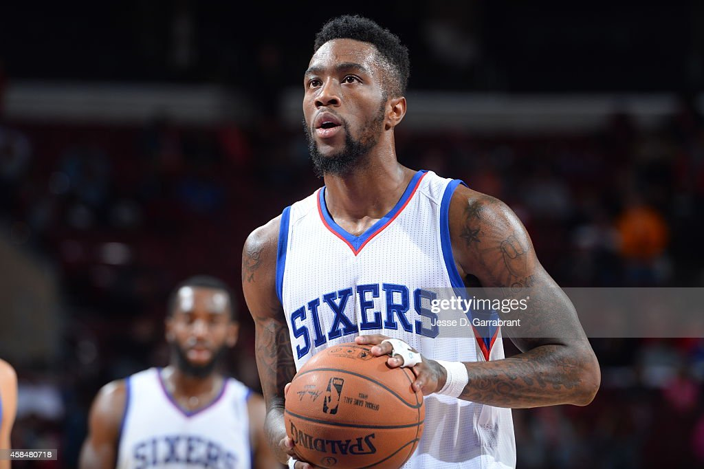 Tony Wroten of the Philadelphia 76ers shoots against the Orlando Magic during the game on November 5 2014 at Wells Fargo Center in Philadelphia...