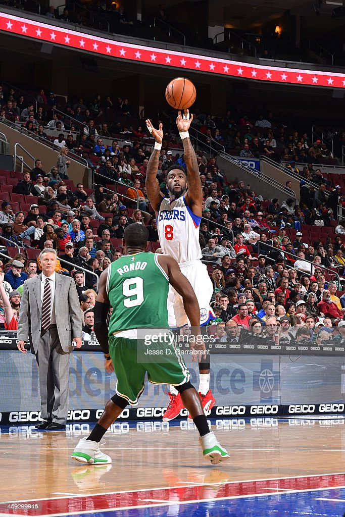 Tony Wroten of the Philadelphia 76ers shoots the ball against the Boston Celtics on November 19 2014 at Wells Fargo Center in Philadelphia...