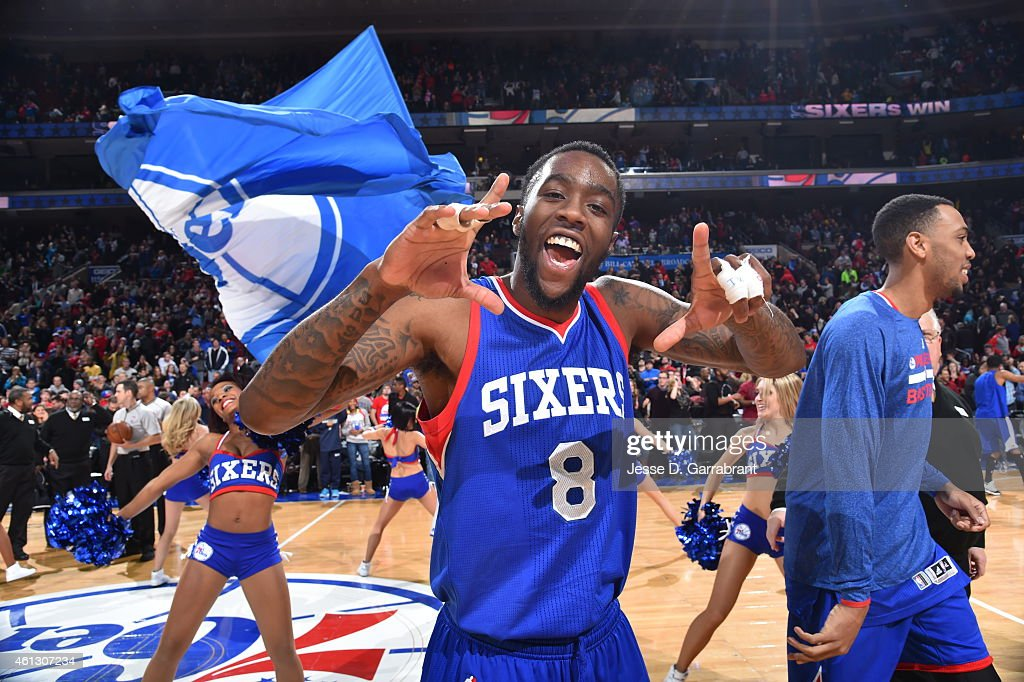 Tony Wroten of the Philadelphia 76ers smiles after the big win against the Indiana Pacers at Wells Fargo Center on January 10 2015 in Philadelphia...