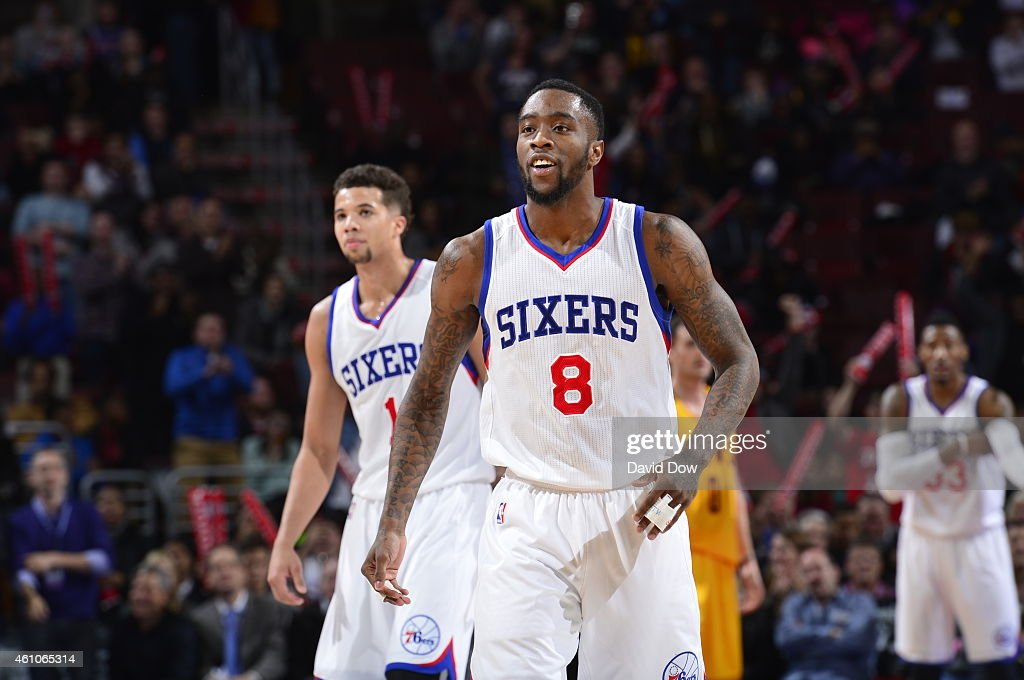 Tony Wroten of the Philadelphia 76ers smiles against the Cleveland Cavaliers at Wells Fargo Center on January 5 2015 in Philadelphia Pennsylvania...