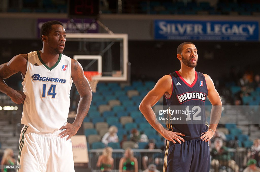 <a gi-track='captionPersonalityLinkClicked' href=/galleries/search?phrase=Tony+Wroten&family=editorial&specificpeople=7651920 ng-click='$event.stopPropagation()'>Tony Wroten</a> #14 of the Reno Bighorns and <a gi-track='captionPersonalityLinkClicked' href=/galleries/search?phrase=Kendall+Hunter&family=editorial&specificpeople=4542833 ng-click='$event.stopPropagation()'>Kendall Hunter</a> #12 of the Bakersfield Jam during a free throw on December 7, 2012 at the Reno Events Center in Reno, Nev..