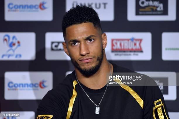 Tony Yoka of France answers journalists during a press conference after the weigh in on October 13 2017 in Paris France Tony Yoka of France will...