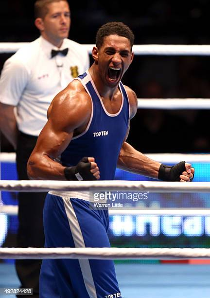 Tony Yoka of France celebrates beating Ivan Dychko of Kazakhstan in the final of the Men's Super Heavy Weight during the AIBA World Boxing...