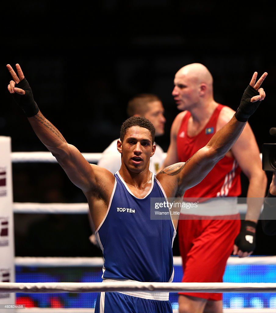 <a gi-track='captionPersonalityLinkClicked' href=/galleries/search?phrase=Tony+Yoka&family=editorial&specificpeople=9557402 ng-click='$event.stopPropagation()'>Tony Yoka</a> of France celebrates beating <a gi-track='captionPersonalityLinkClicked' href=/galleries/search?phrase=Ivan+Dychko&family=editorial&specificpeople=7359749 ng-click='$event.stopPropagation()'>Ivan Dychko</a> of Kazakhstan in the final of the Men's Super Heavy Weight during the AIBA World Boxing Championships Doha 2015 at the Ali Bin Hamad Al-Attiya Arena on October 15, 2015 in Doha, Qatar.