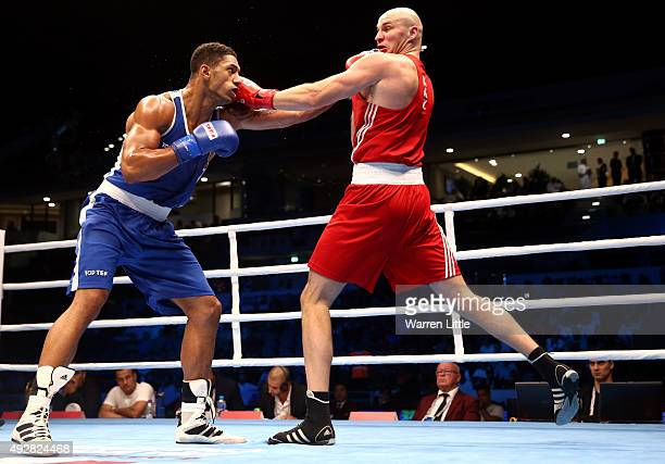 Tony Yoka of France fights Ivan Dychko of Kazakhstan in the final of the Men's Super Heavy Weight during the AIBA World Boxing Championships Doha...