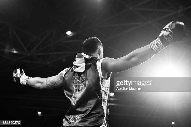 Tony Yoka of France reacts as he enters the arena for a international heavyweight boxing match against Jonathan Rice of The United States of America...