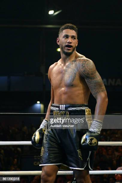 Tony Yoka of France reacts during an international heavyweight boxing match against Jonathan Rice of The United States of America at Zenith on...