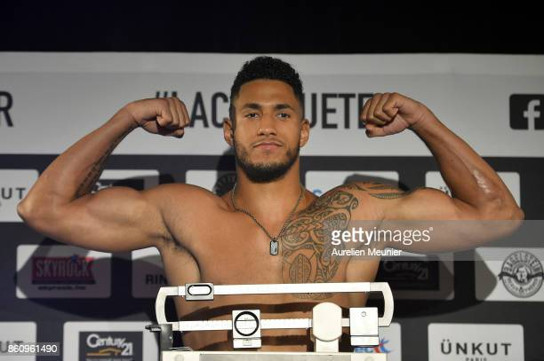 Tony Yoka of France reacts during the weigh in on October 13 2017 in Paris France Tony Yoka of France will fight Jonathan Rice of the United States...