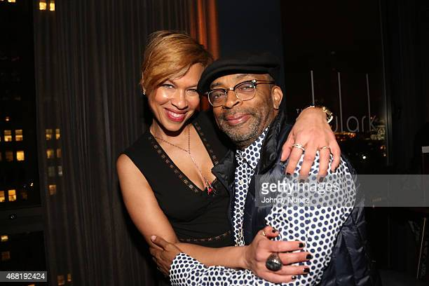 Tonya Lewis Lee and Spike Lee attend a Surprise Birthday Party at The Skylark on March 30 2015 in New York City