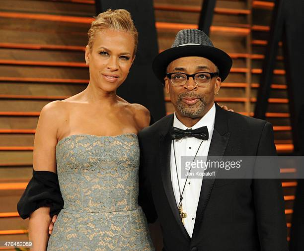 Tonya Lewis Lee and Spike Lee attend the 2014 Vanity Fair Oscar Party hosted by Graydon Carter on March 2 2014 in West Hollywood California