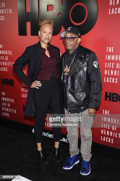 Tonya Lewis Lee and Spike Lee attend 'The Immortal Life of Henrietta Lacks' premiere at SVA Theater on April 18 2017 in New York City