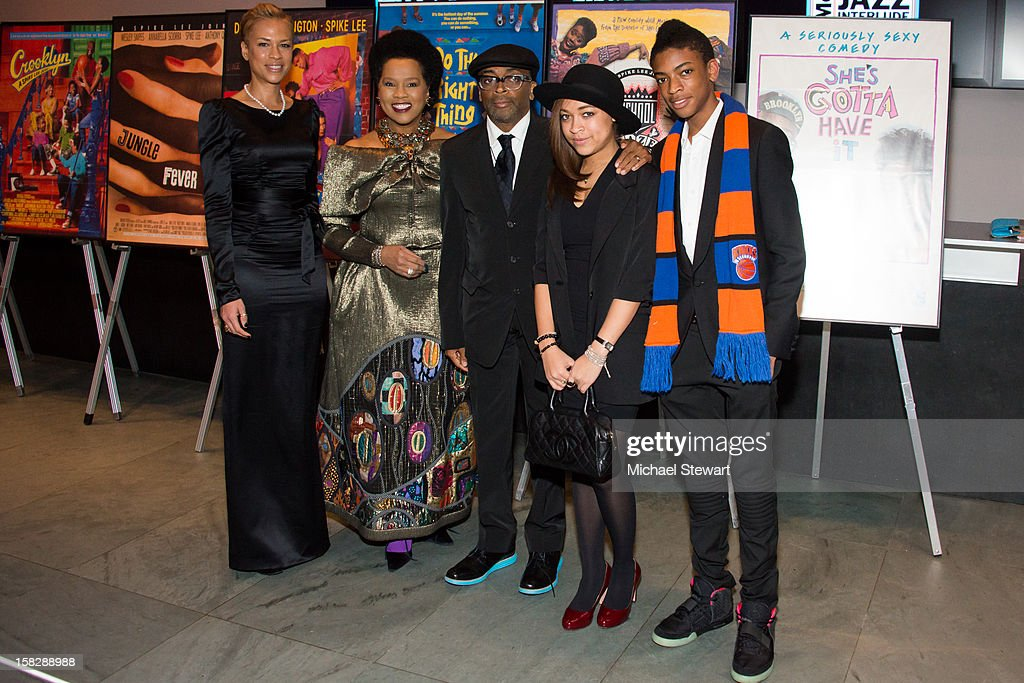 Tonya Lewis Lee, Event chair Sherry Bronfman, director Spike Lee, Satchel Lee and Jackson Lee attend The Museum of Modern Art's Jazz Interlude Gala at Museum of Modern Art on December 12, 2012 in New York City.