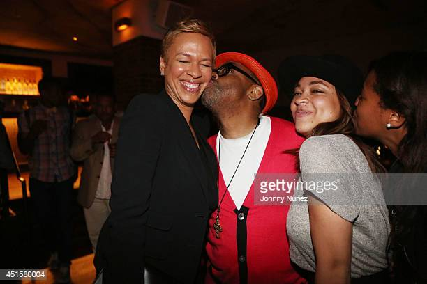 Tonya Lewis Lee Spike Lee and Satchel Lee attend 'Da Sweet Blood Of Jesus' cast and crew special screening after party at Hudson Hotel on June 23...