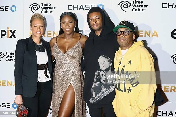 Tonya Lewis Lee tennis player Serena Williams Jackson Lee and director Spike Lee attend the premiere of EPIX original documentary 'Serena' at SVA...