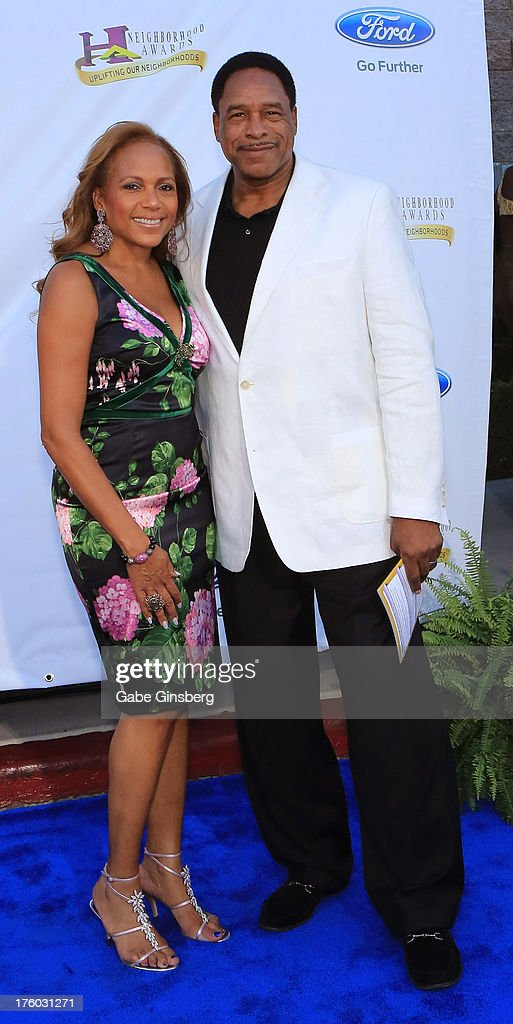 Tonya Turner (L) and her husband, former Major League Baseball player <a gi-track='captionPersonalityLinkClicked' href=/galleries/search?phrase=Dave+Winfield+-+Jugador+de+b%C3%A9isbol&family=editorial&specificpeople=203117 ng-click='$event.stopPropagation()'>Dave Winfield</a>, arrive at the 11th annual Ford Neighborhood Awards at the MGM Grand Garden Arena on August 10, 2013 in Las Vegas, Nevada.