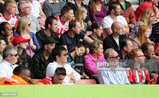 Too much excitement for one Southampton fan during the Premier League match between Southampton and West Ham United at St Mary's Stadium on August 19...