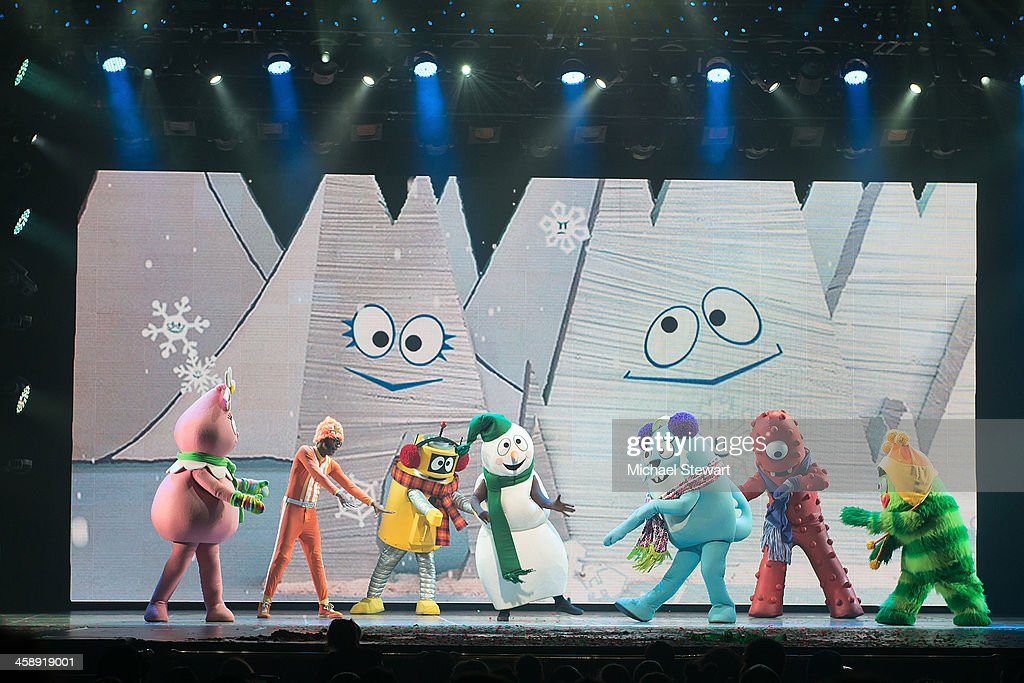 Toodee, DJ Lance Rock, Plex, Snowman, Foofa, Muno and Brobee perform during 'Yo Gabba Gabba! Live!' at The Beacon Theatre on December 22, 2013 in New York City.