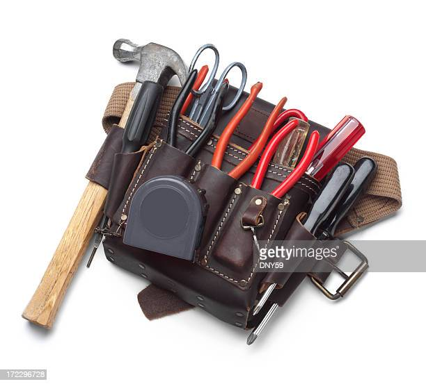 Tool belt full of tools isolated on white background