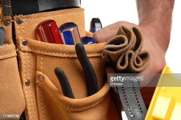 Tool Belt with Man's Hand Tools Isolated on White Background