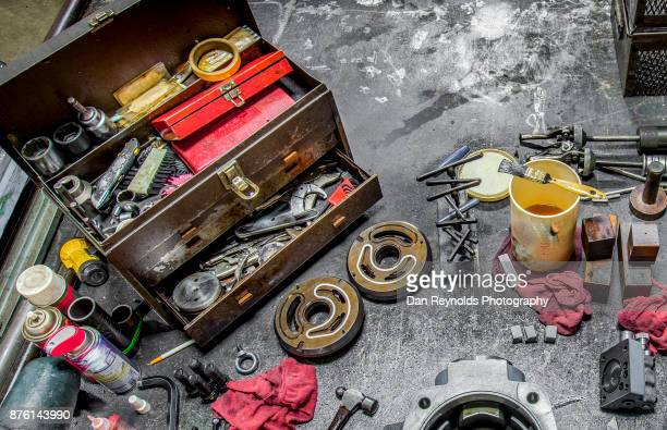 Tool Box and Tools on Industrial Workbench