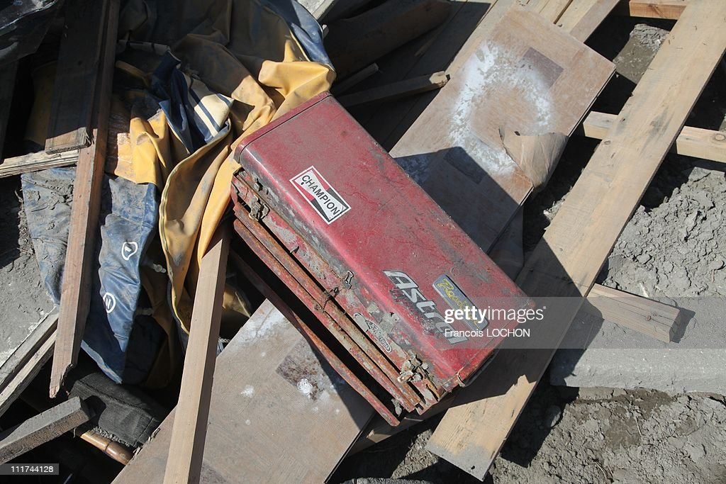 A tool box is left in the rubble destroyed by the earthquake on April 4,2011, in Yamda,Japan. These objects are from the 30 000 victims of the earthquake that hit Japan on March 11, 2011 followed by an tsunami.