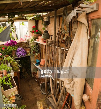 Tool shed filled with multiple supplies for gardening