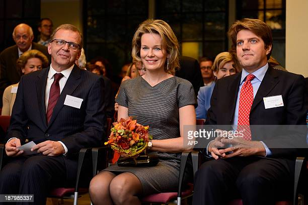 Toolbox manager Olivier Marquet Queen Mathilde of Belgium and Toolbox chairman Alexis du Roy de Blicquy are pictured during the tenth anniversary of...