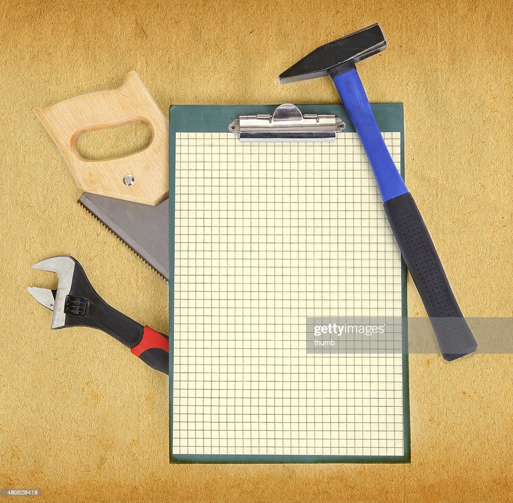 Tools and clipboard : Stock Photo
