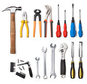 Tools collection isolated on white background