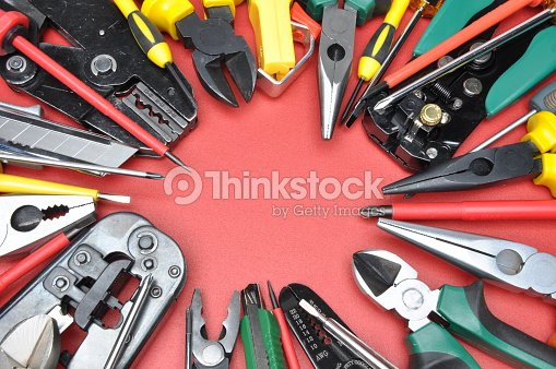Tools For Electrical Installation On Metal With Place Text Stock Photo