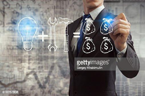 Tools for money making . Mixed media : Stock Photo