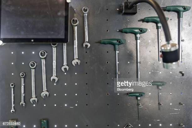 Tools hang on a wall at a factory operated by EDeodar Robot Equipment Co a whollyowned subsidiary of Ningbo Techmation Co in Foshan China on Tuesday...