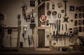 Tools hanging in artists workshop