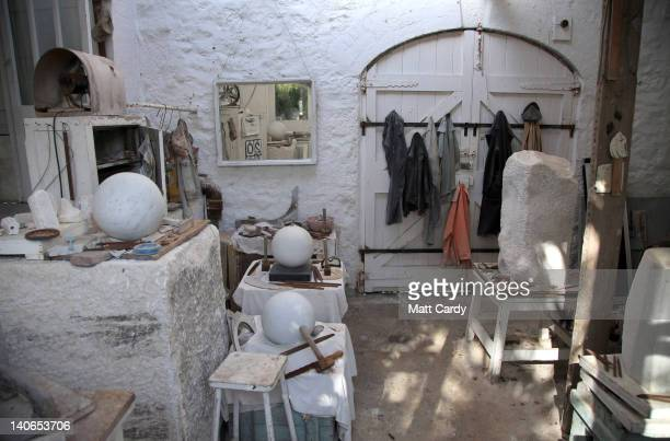 Tools that belonged to the late sculptor Barbara Hepworth are displayed in a workshop in her former home that is now a museum in the centre of St...