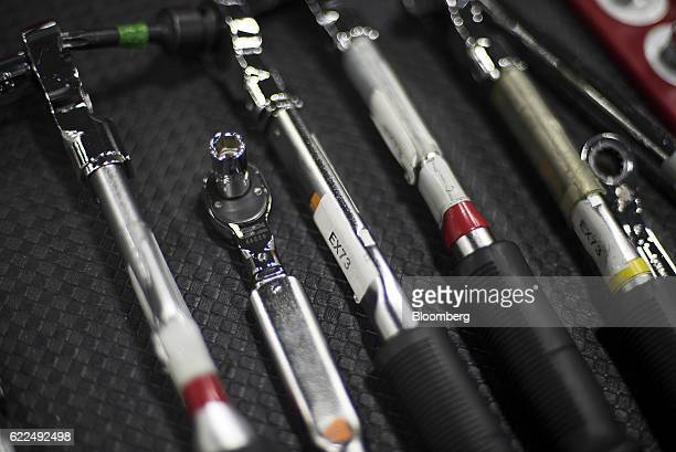 Tools used to assemble the Honda Motor Co 2017 Acura NSX vehicle are seen at the Honda Performance Manufacturing Center in Marysville Ohio US on...
